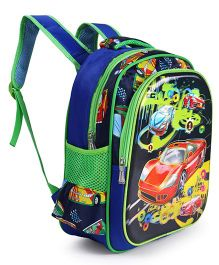 School Bag Racing Cars Print Blue Green - 14.9 Inches