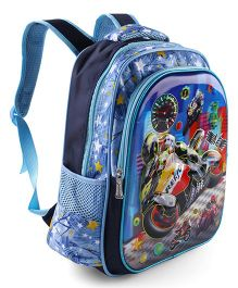 School Bag Biker Print Sky Blue - Height 15 Inches