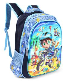 School Bag Boy Print Blue - 14 inches