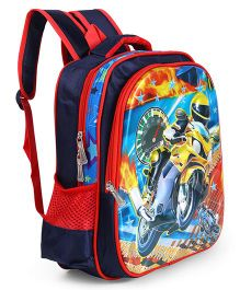 School Bag Biker Print Red Navy - Height 15 Inches