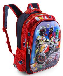 School Bag Bike Print Red - 12.5 Inches