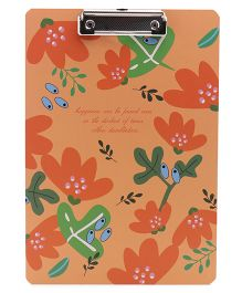 Exam Board Floral & Text Print - Orange