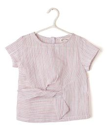Cubmarks Striped Pink Top With Front Bow - Pink