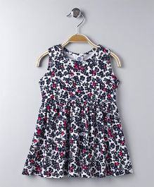 Teddy Sleeveless Frock Allover Floral Print - Navy Blue Pink