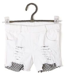 Cubmarks Ripped Style Shorts With Net - White