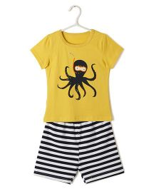 Cubmarks Octopus Print Tee & Shorts Set - Yellow