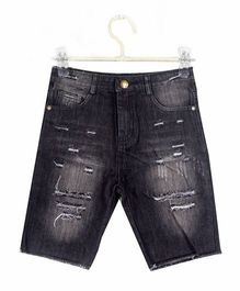 Cubmarks Ripped & Faded Denim Shorts - Black