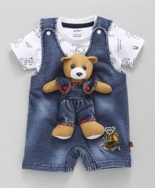 Wow Clothes Denim Dungaree Bear Applique With Printed T-Shirt - Blue White
