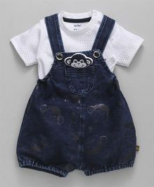 Wow Clothes Denim Dungaree With T-Shirt Monkey Applique - Blue White