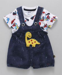 Wow Clothes Denim Dungaree With T-Shirt Dino Patch - Dark Blue White