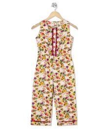 Budding Bees Floral Long Jumpsuit - Multicolor