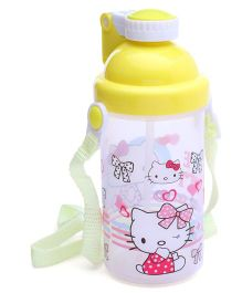 Water Bottle With Pop Up Straw Yellow - 500 ml (Print May Vary)