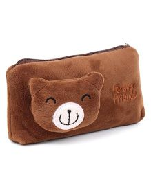 Bear Face Motif  Pencil Pouch - Coffee Brown