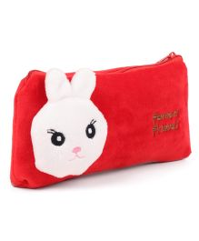 Rabbit Face Motif  Pencil Pouch - Red