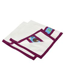 Yogis Baby Organic Burp Cloth Pack of 2 - White & Purple