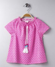Hello Momo Printed Top - Pink