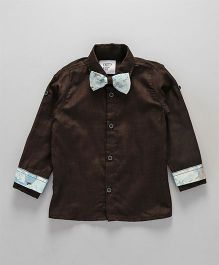 Knotty Kids Floral Print Cuff & Bow Tie Full Sleeve Shirt - Brown