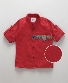 Knotty Kids Printed Applique On Chest Full Sleeve Shirt - Red