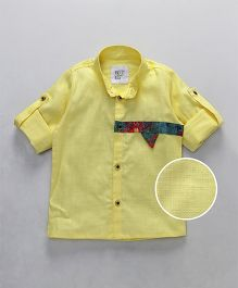 Knotty Kids Printed Applique On Chest Full Sleeve Shirt - Yellow