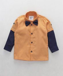 Knotty Kids Colour Blocked Full Sleeve Shirt With Bow Tie - Orange & Blue