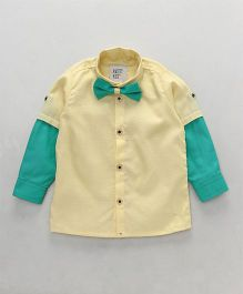 Knotty Kids Colour Blocked Full Sleeve Shirt With Bow Tie - Yellow & Turquoise