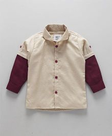 Knotty Kids Colour Blocked Full Sleeve Shirt With Bow Tie - Beige & Maroon