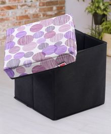 Babyhug Sto-Sit Foldable Storage Box Cum Stool - Black & Purple Dots