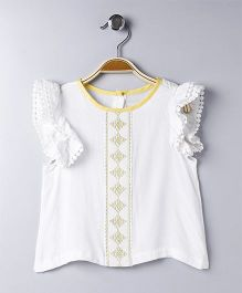 Hello Momo Printed Ruffled Sleeves Top - White
