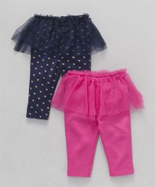Hudson Baby Set Of Leggings With Frills - Pink and Navy