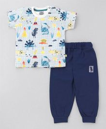 Mini Taurus Short Sleeves T-Shirt With Lounge Pant Animal Print - Blue