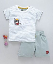 Mini Taurus Short Sleeves T-Shirt With Shorts Bear Print - Mint Green