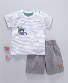 Mini Taurus Short Sleeves T-Shirt With Shorts Bear Print - Grey
