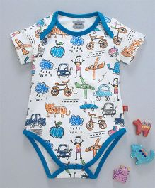 Mini Taurus Short Sleeves Onesie Multi Print - Blue