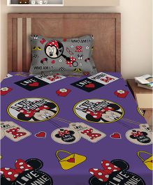 Disney Minnie Mouse Single Bedsheet With 1 Pillow Cover - Violet