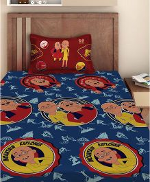 Motu Patlu Single Bedsheet With 1 Pillow Cover - Navy Blue