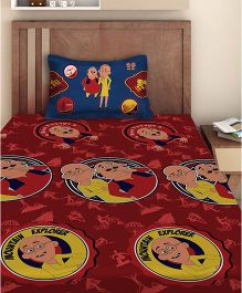 Motu Patlu Single Bedsheet With 1 Pillow Cover - Maroon