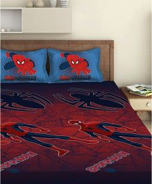 Marvel Spiderman Double Bed Sheet With 2 Pillow Covers - Red