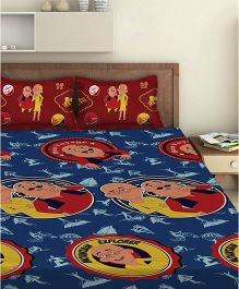 Motu Patlu Double Bed Sheet With 2 Pillow Covers - Blue