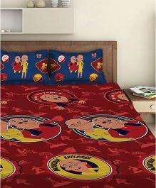 Motu Patlu Double Bed Sheet With 2 Pillow Covers - Red
