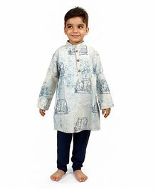 Raghav Auto Printed Cotton Kurta - Blue