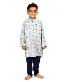 Raghav Coins Printed Cotton Kurta - Blue