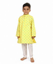 Raghav Dot Printed Cotton Kurta - Multicolor