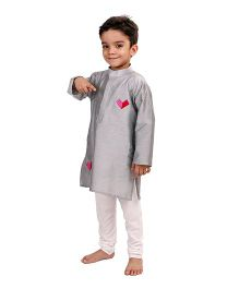 Raghav Happy Heart Embroidered Kurta - Grey