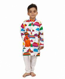 Raghav Umbrella Printed Cotton Kurta With Pocket - Multicolor
