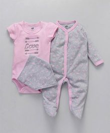 Hudson Baby  Printed Rompers With Bib - Pink and Grey