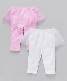 Hudson Baby Set Of Leggings With Frills - Pink and White