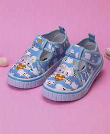 Cute Walk by Babyhug Canvas Shoes Kitty Embroidered - Sky Blue