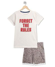 RAINE AND JAINE Forget The Rules Print Tee & Printed Shorts - White & Grey