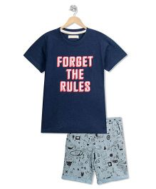 RAINE AND JAINE Forget The Rules Print Tee & Doodle Printed Shorts - Blue