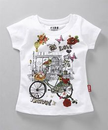 Fido Half Sleeves Tee Floral Butterfly & Cycle Print - White